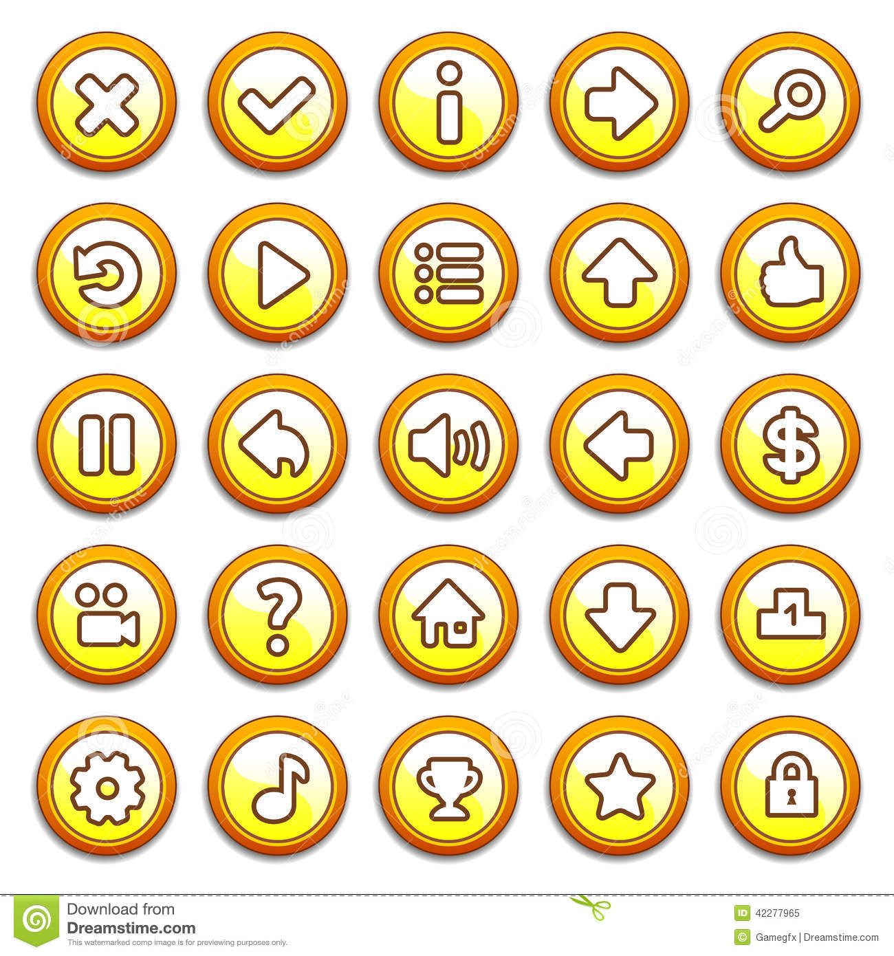 Yellow Round Game Menu Buttons Stock Vector Image 42277965