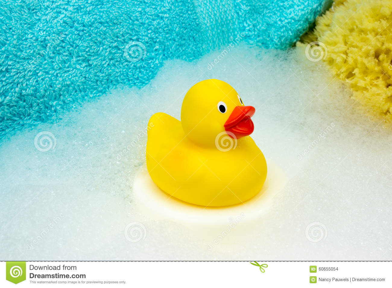 Yellow Rubber Duck With Bath Foam Stock Photo Image Of Animal Natural