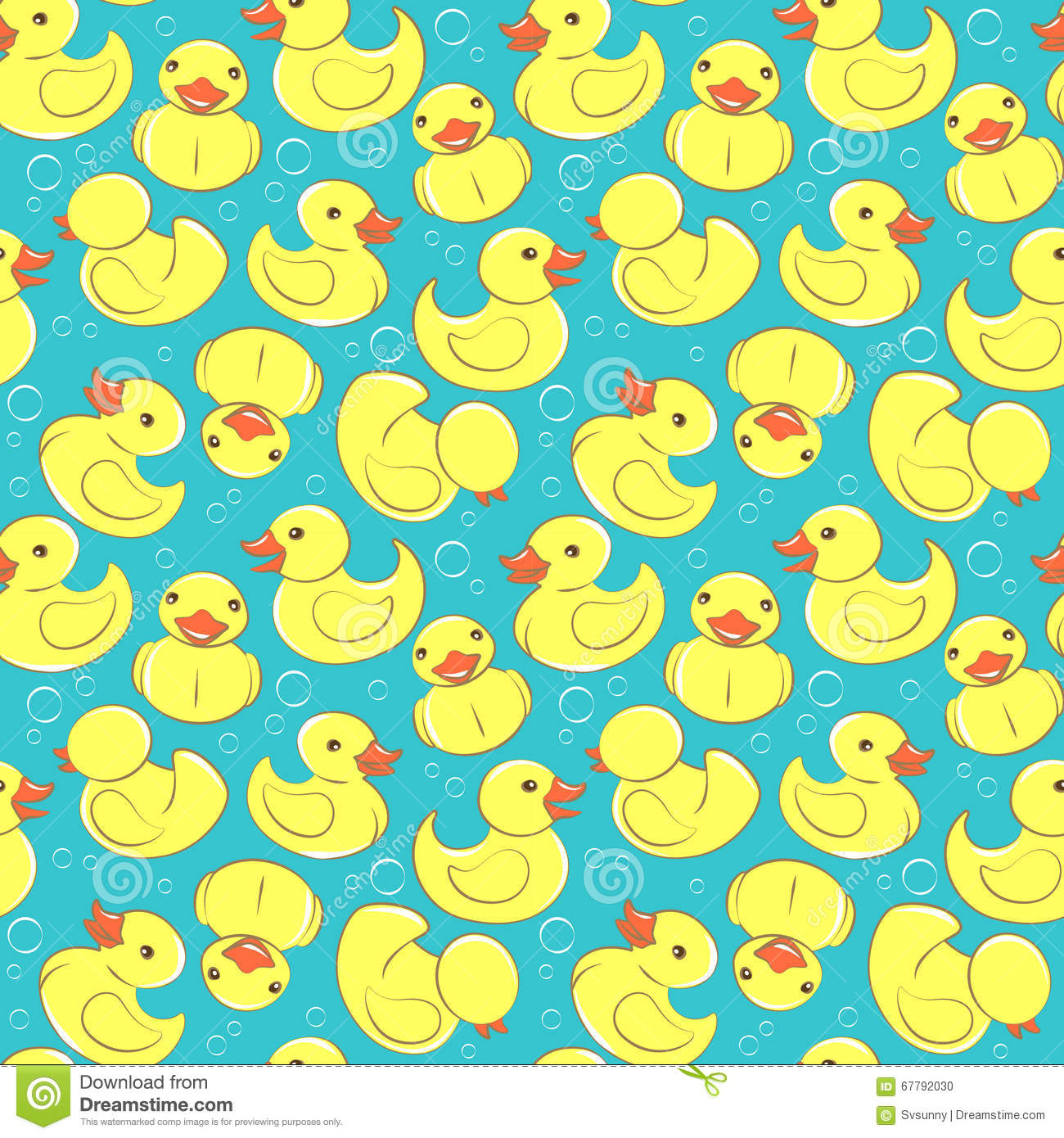 Yellow Duck In Bathtub With Bubbles Vector Illustration