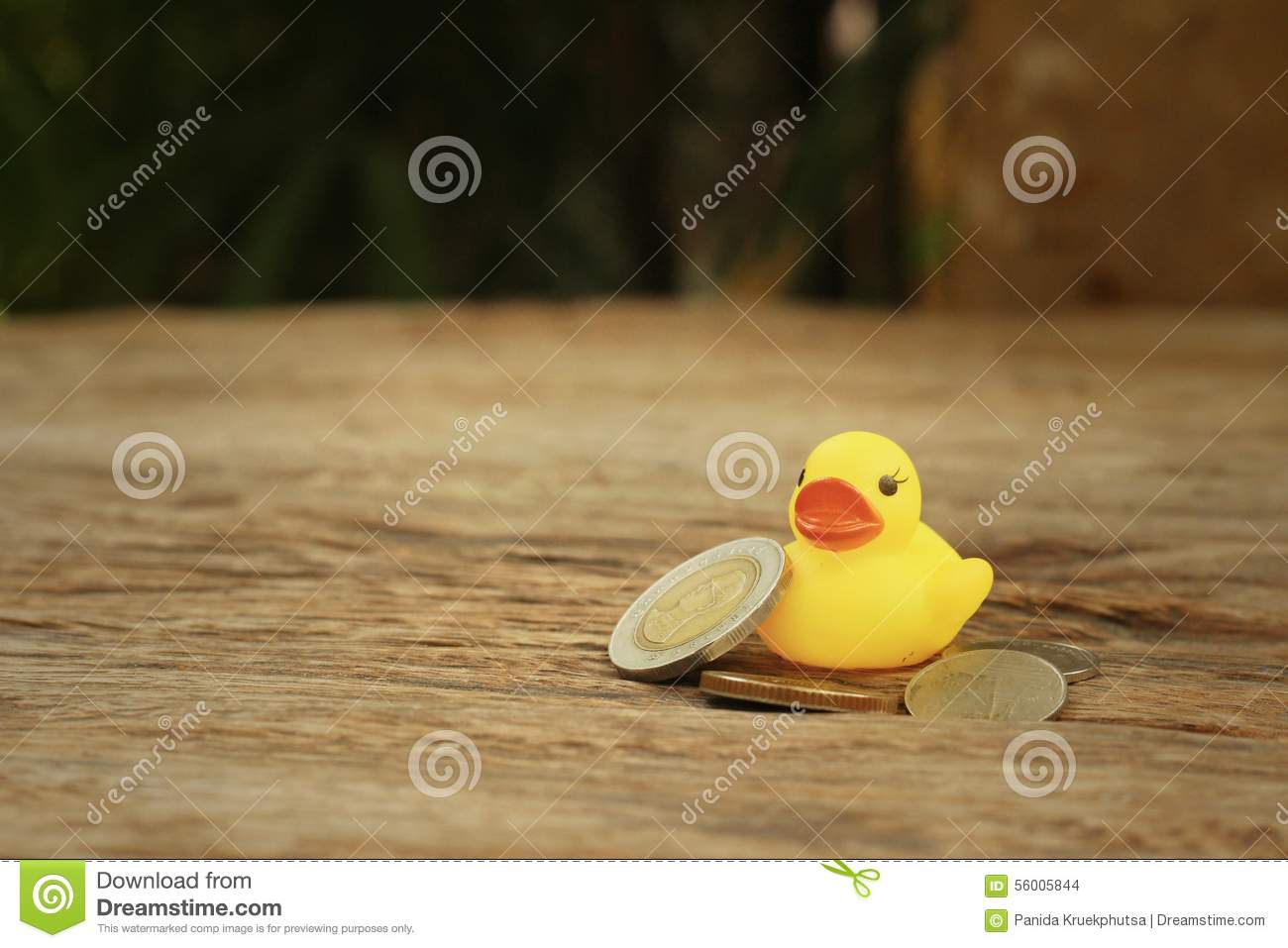 Yellow Rubber Duck With Money Of Thai Bath. Stock Photo - Image of ...