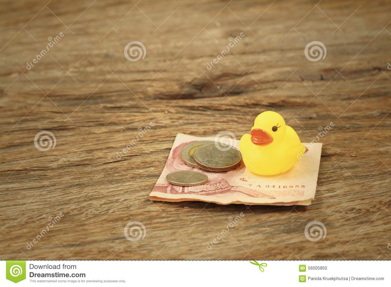 Yellow Rubber Duck With Thai Bath Money. Stock Photo - Image of ...
