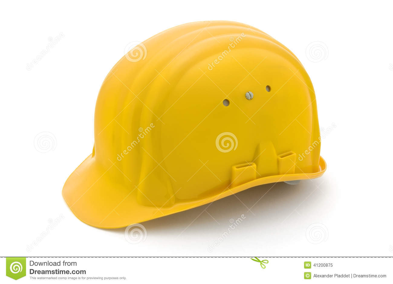 Yellow safety helmet for protection on a construction workplace ...