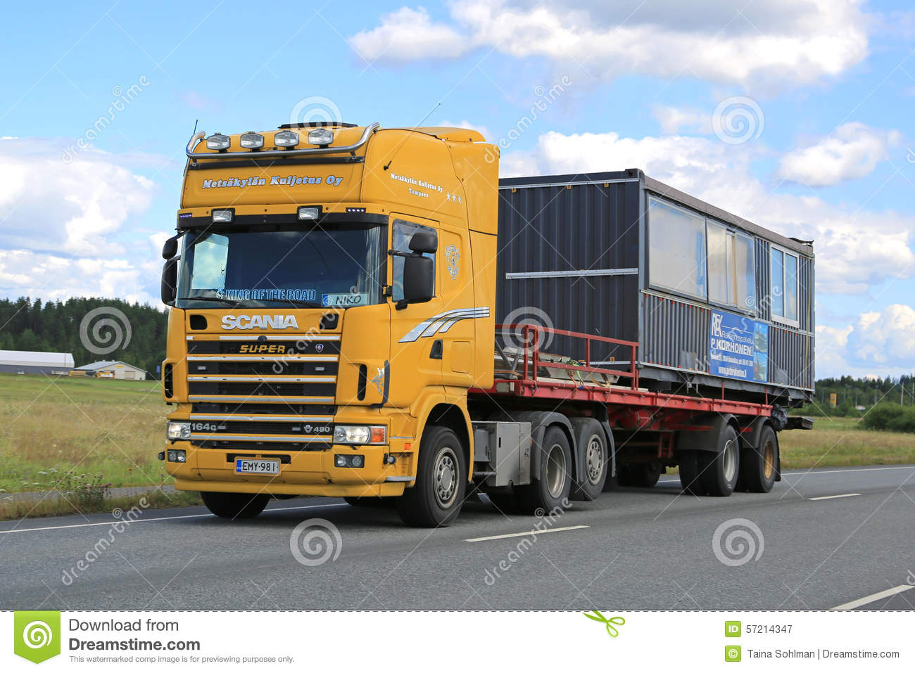 Best Used Diesel Truck >> Yellow Scania 164G Truck Hauls Portable Cabin Editorial Photo | CartoonDealer.com #57214347