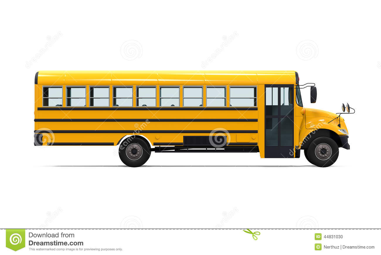 Yellow School Bus isolated on white background. 3D render.