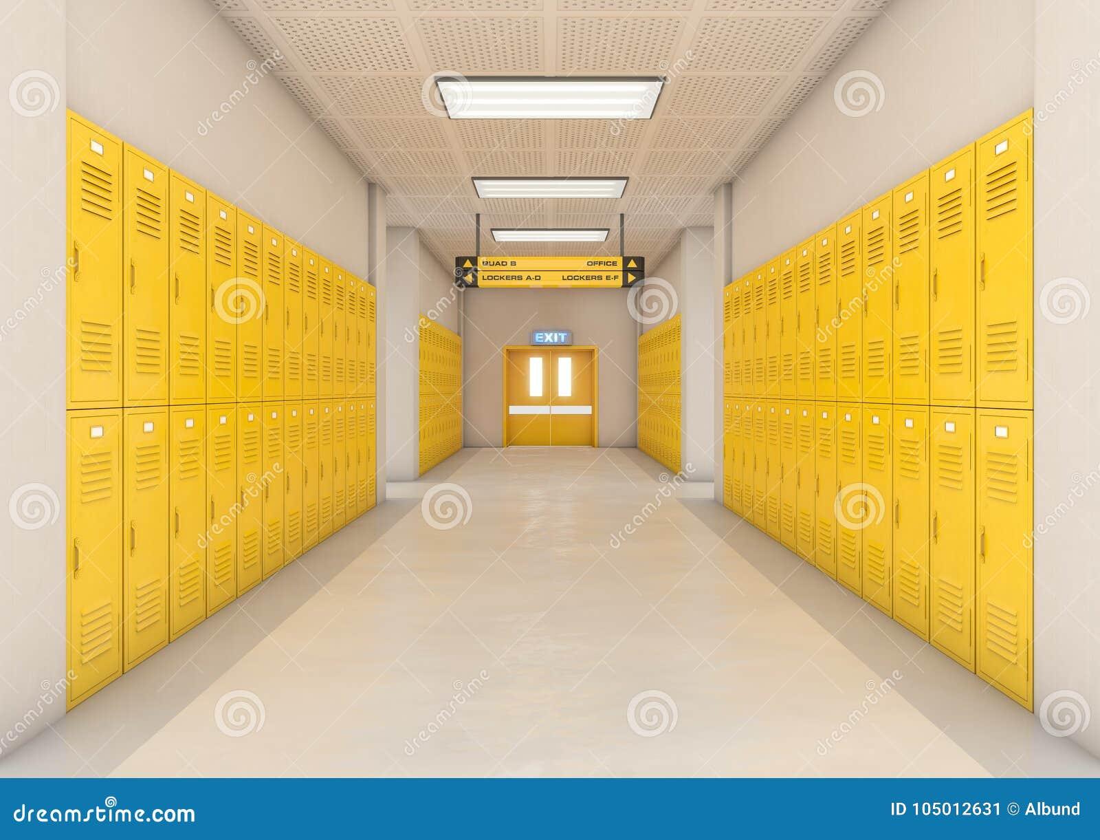 yellow school lockers light stock illustration illustration of