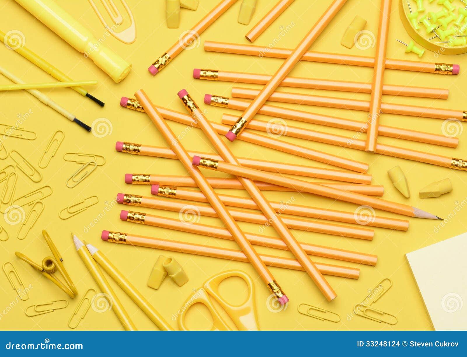yellow school supplies stock photo 33248124 megapixl