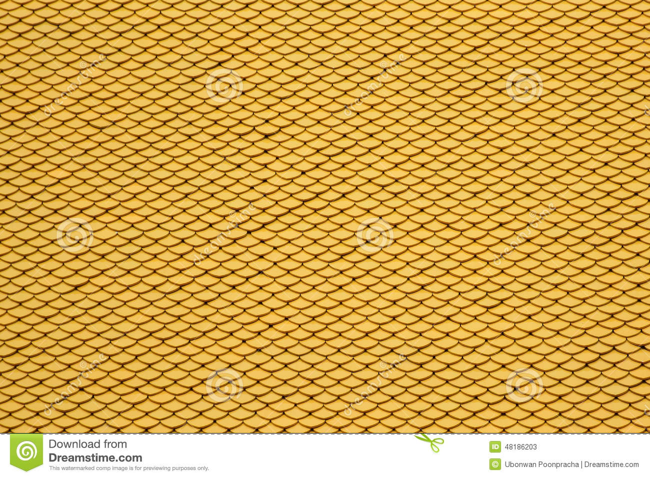 Yellow Seamless Roof Tiles Background Stock Photo Image