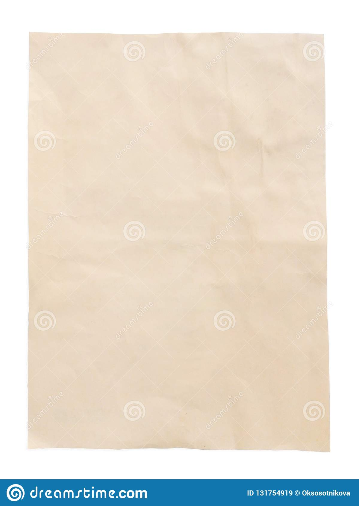 Yellow sheet of vintage old paper with path, top view