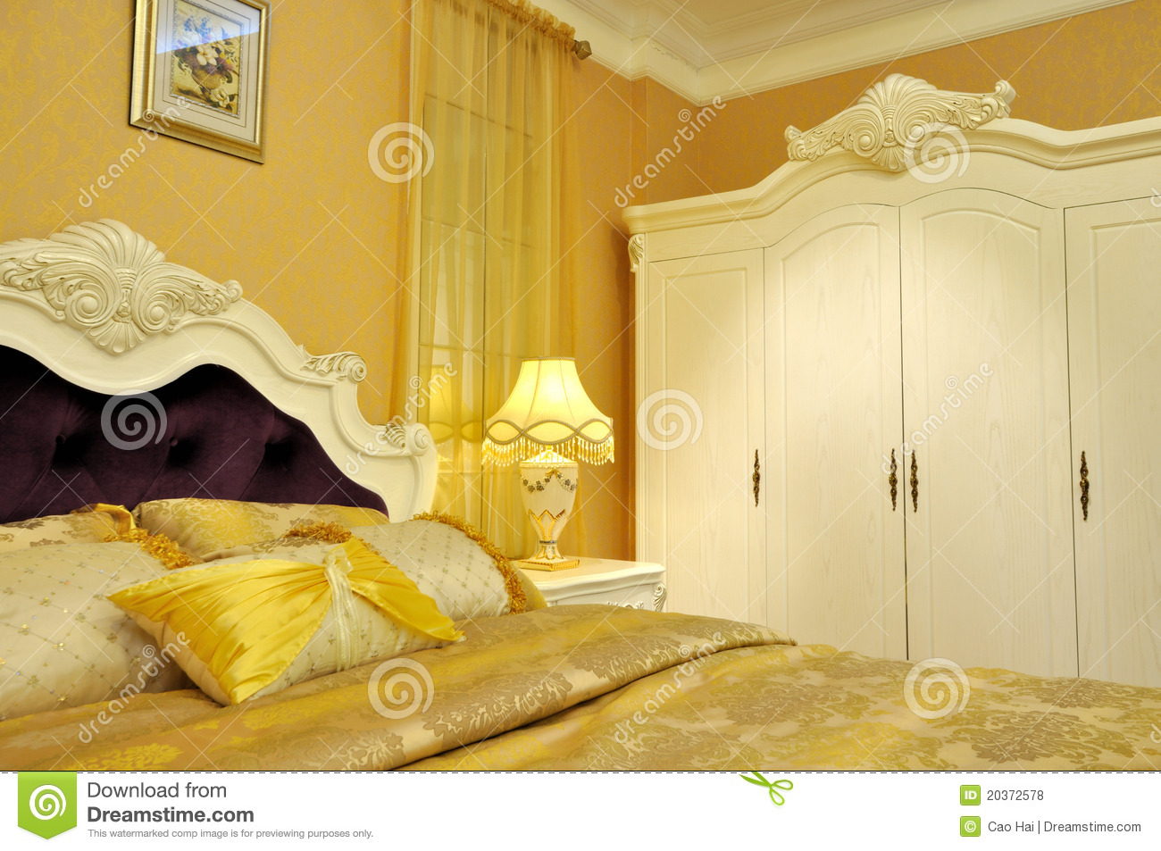 yellow shining bedding and bedroom furniture stock photo 13888 | yellow shining bedding bedroom furniture 20372578