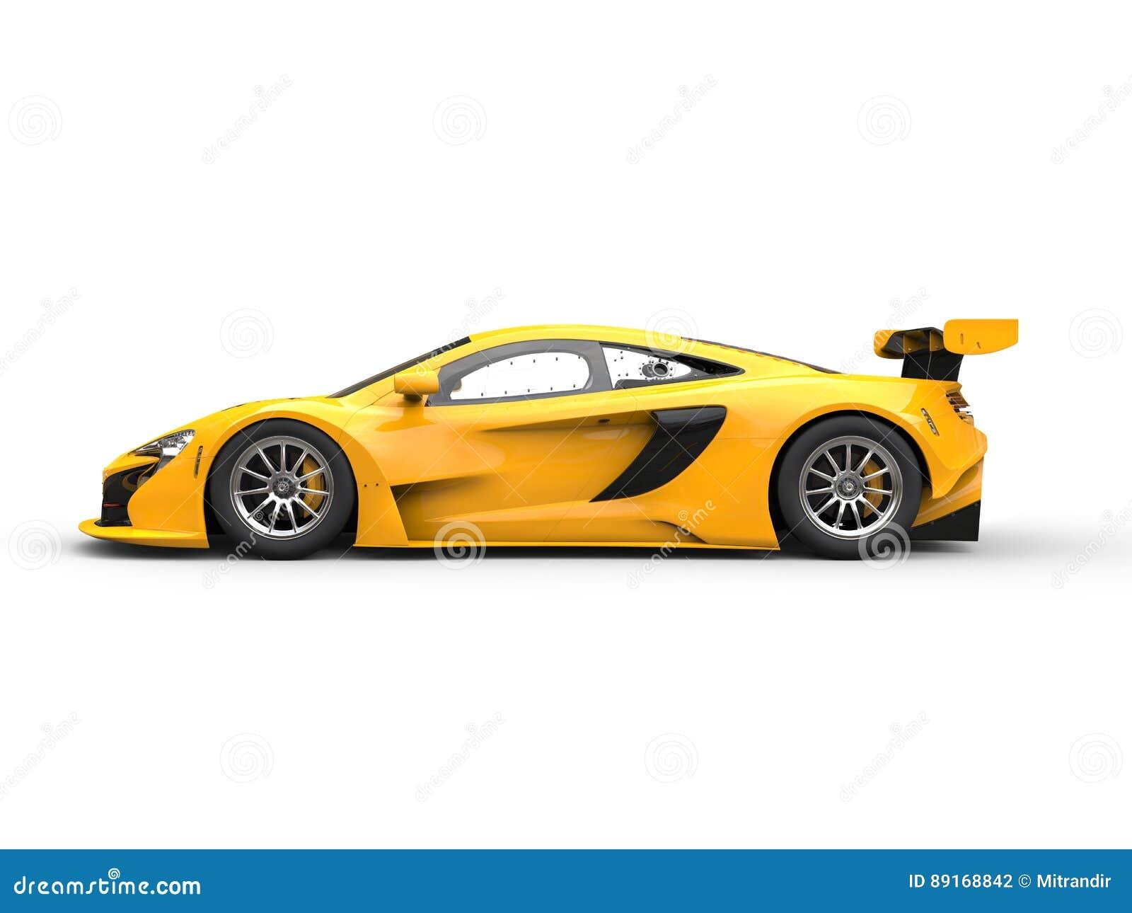 Race Car Side View Yellow Shiny Modern Ra...