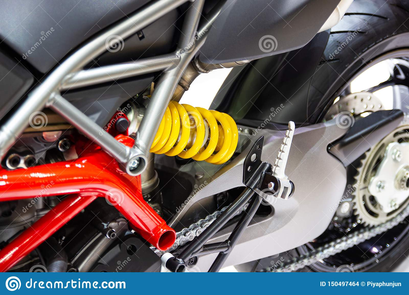 Yellow Shock Absorbers of Motorcycle for absorbing jolts