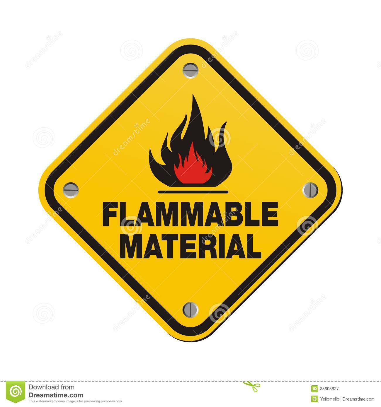 Yellow Sign Flammable Material Royalty Free Stock