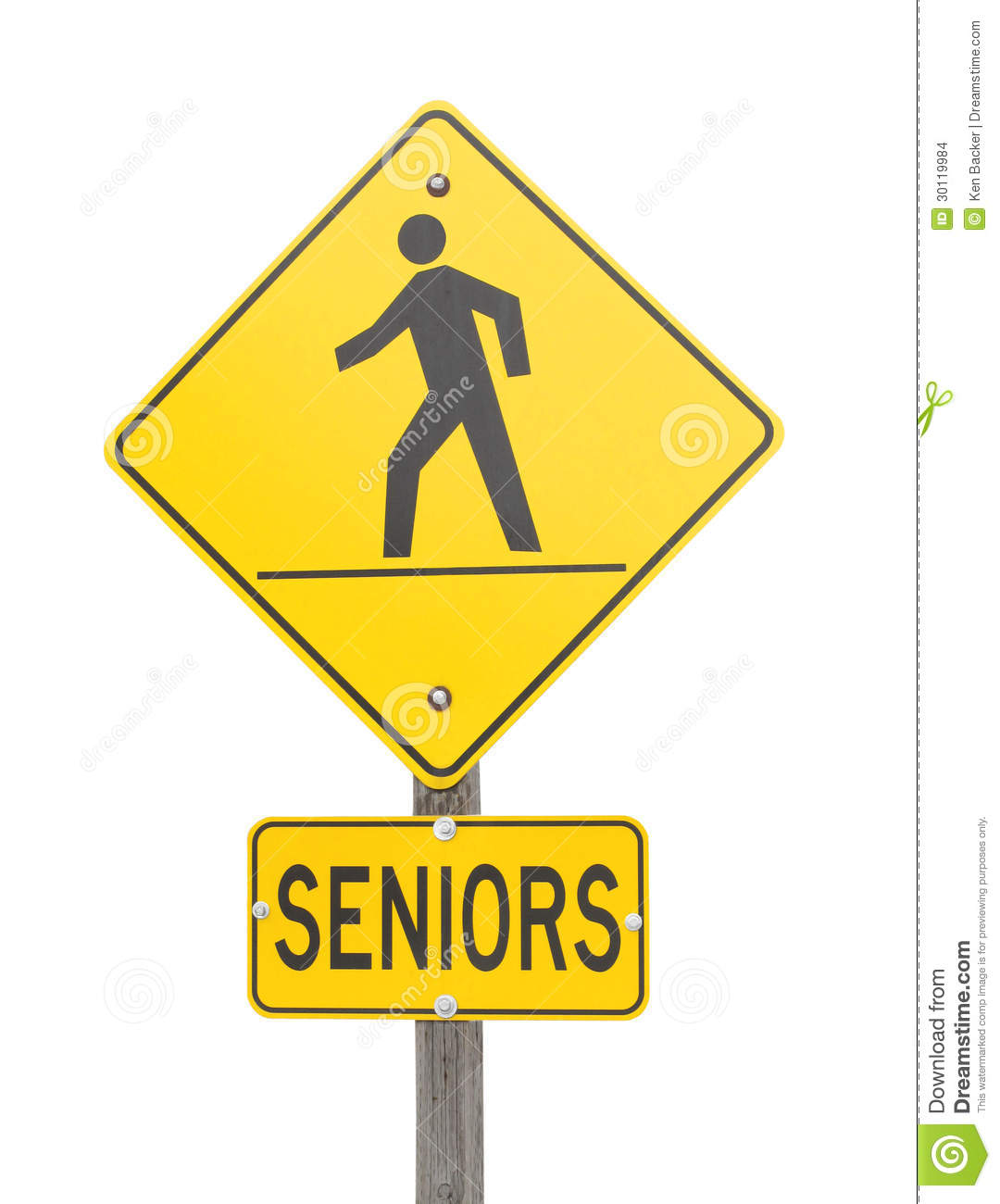 Sign Warning Of A Senior S Crossing Stock Images Image