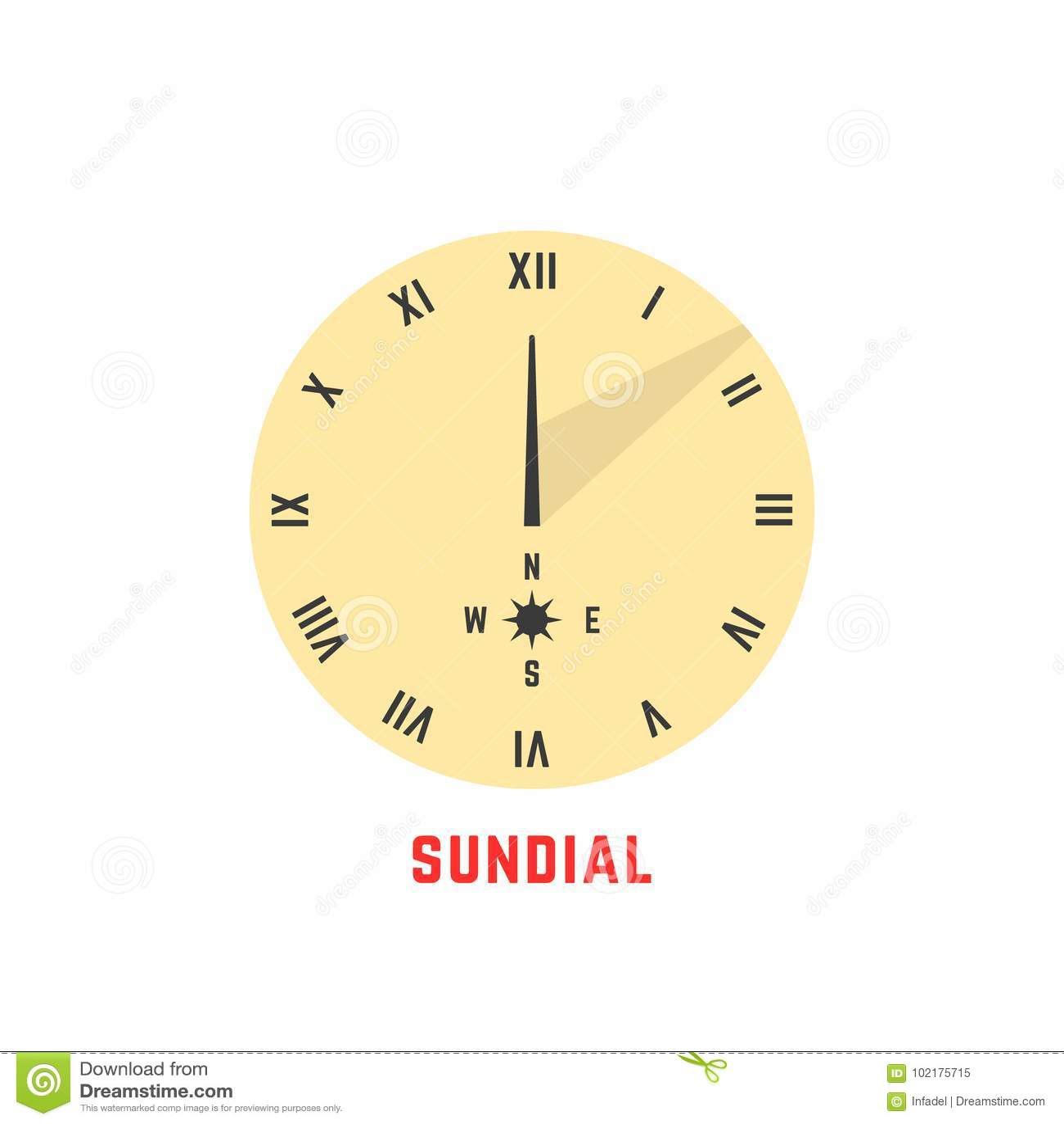 Yellow simple sundial icon stock vector  Illustration of