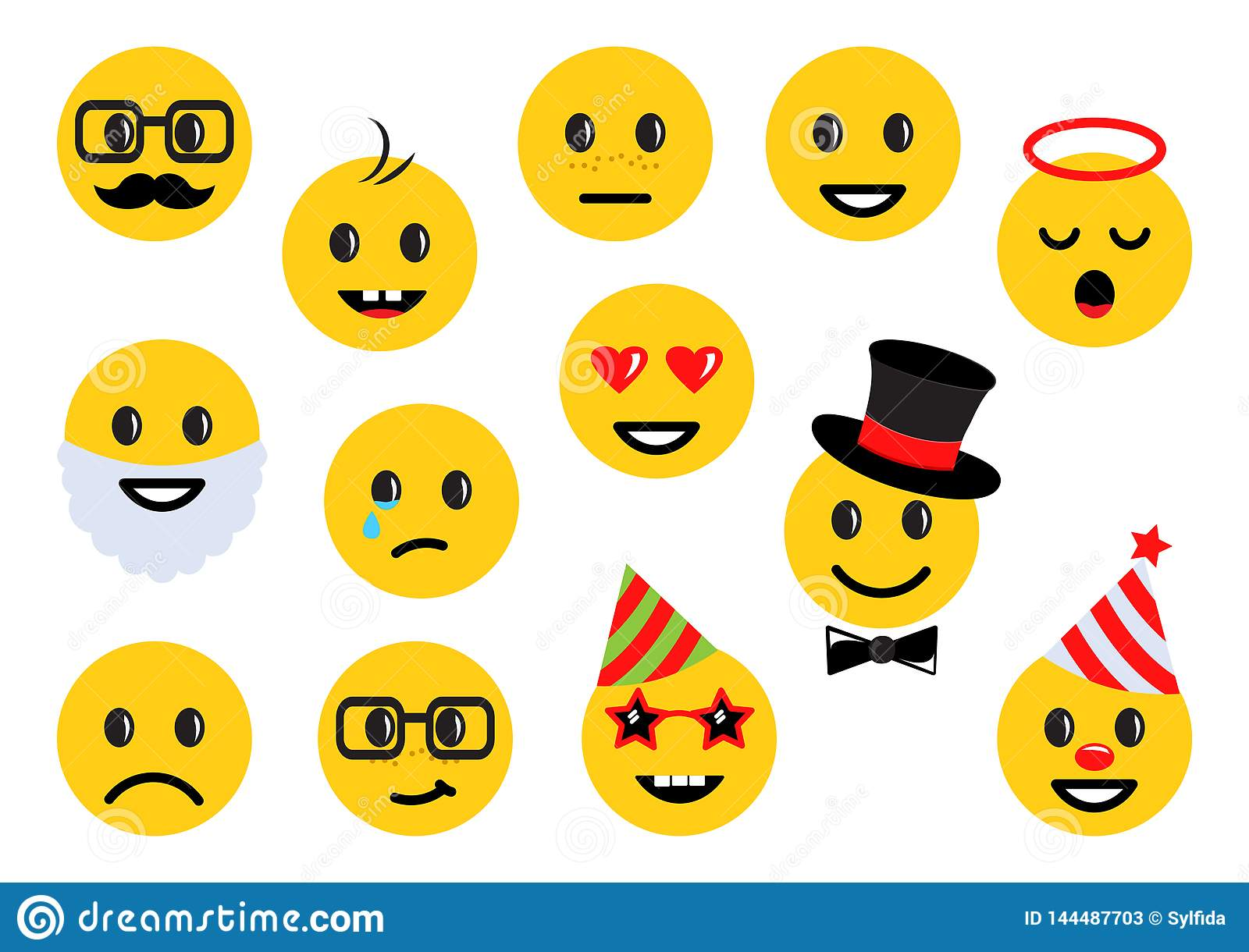 Yellow smileys, set of different emoticon icons. Vector