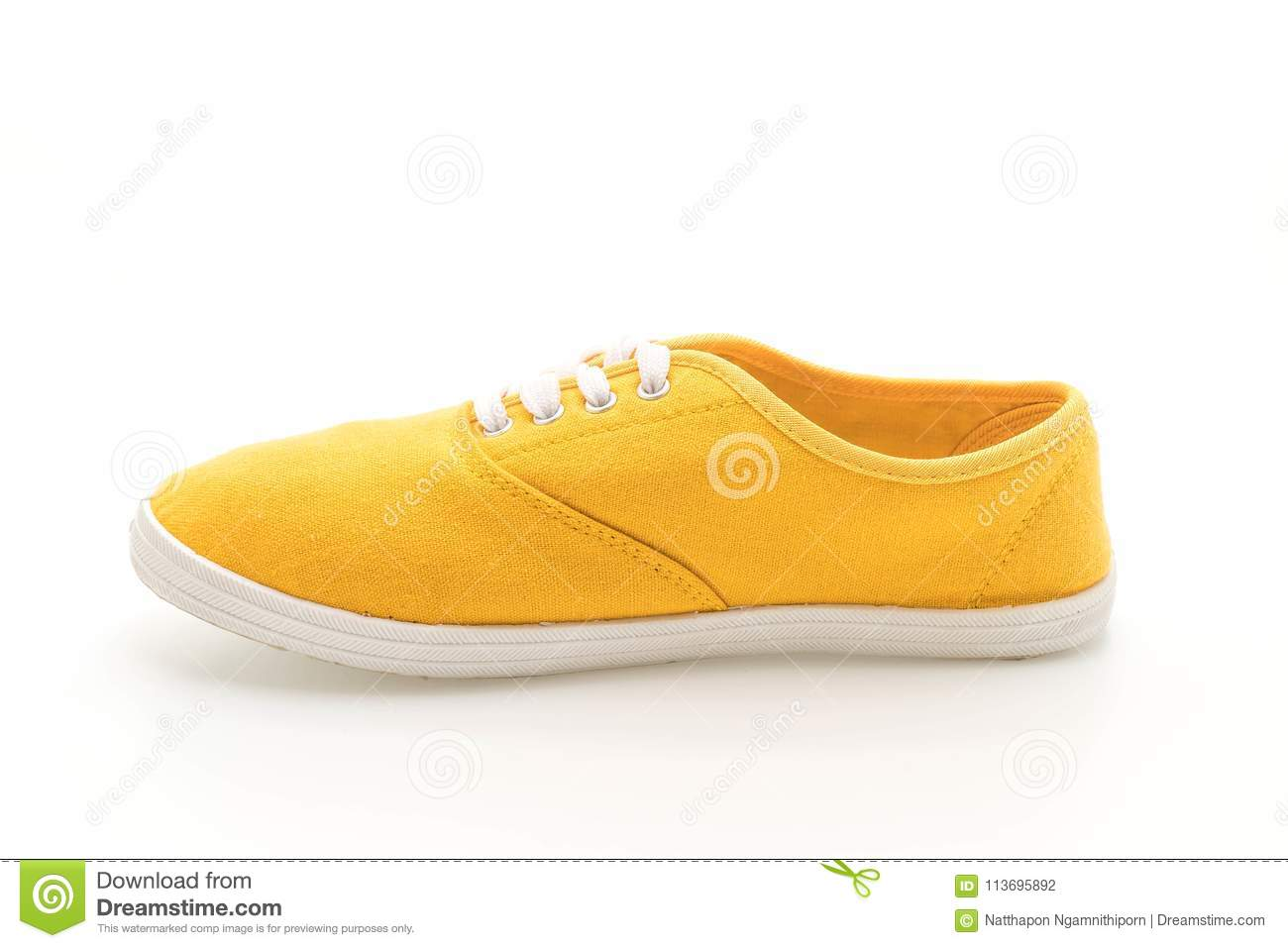 25f092b3e14136 Yellow Sneakers On White Background Stock Photo - Image of isolated ...