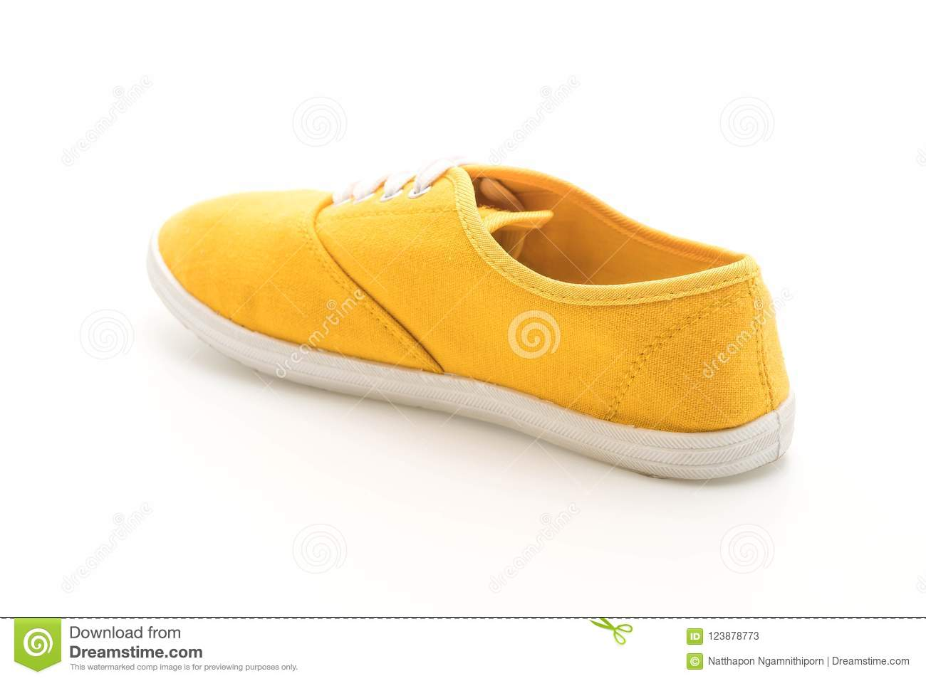 d818550e252efa Yellow Sneakers On White Background Stock Image - Image of foot ...