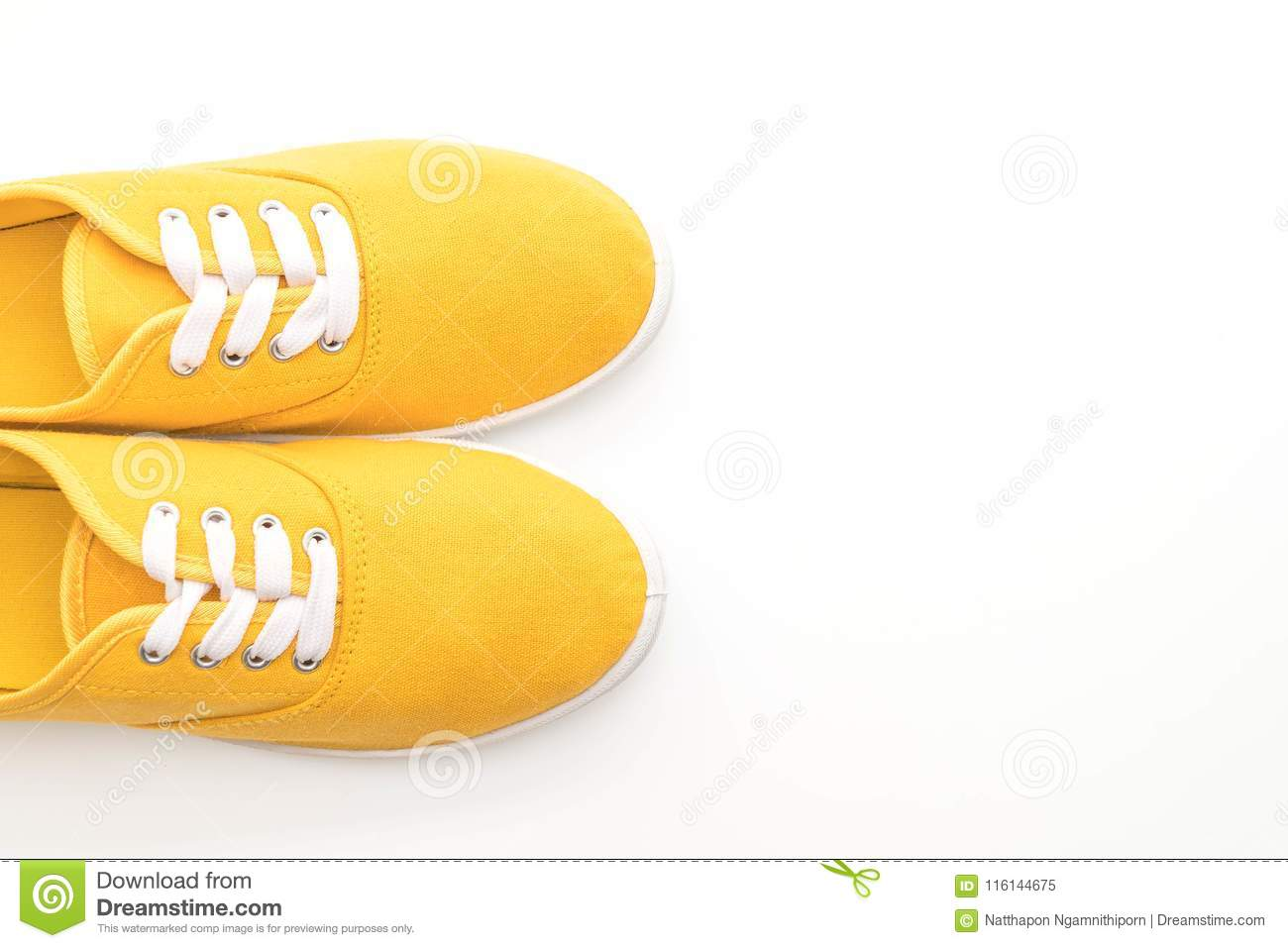 06bddc79a8eda1 Yellow Sneakers On White Background Stock Image - Image of clothing ...