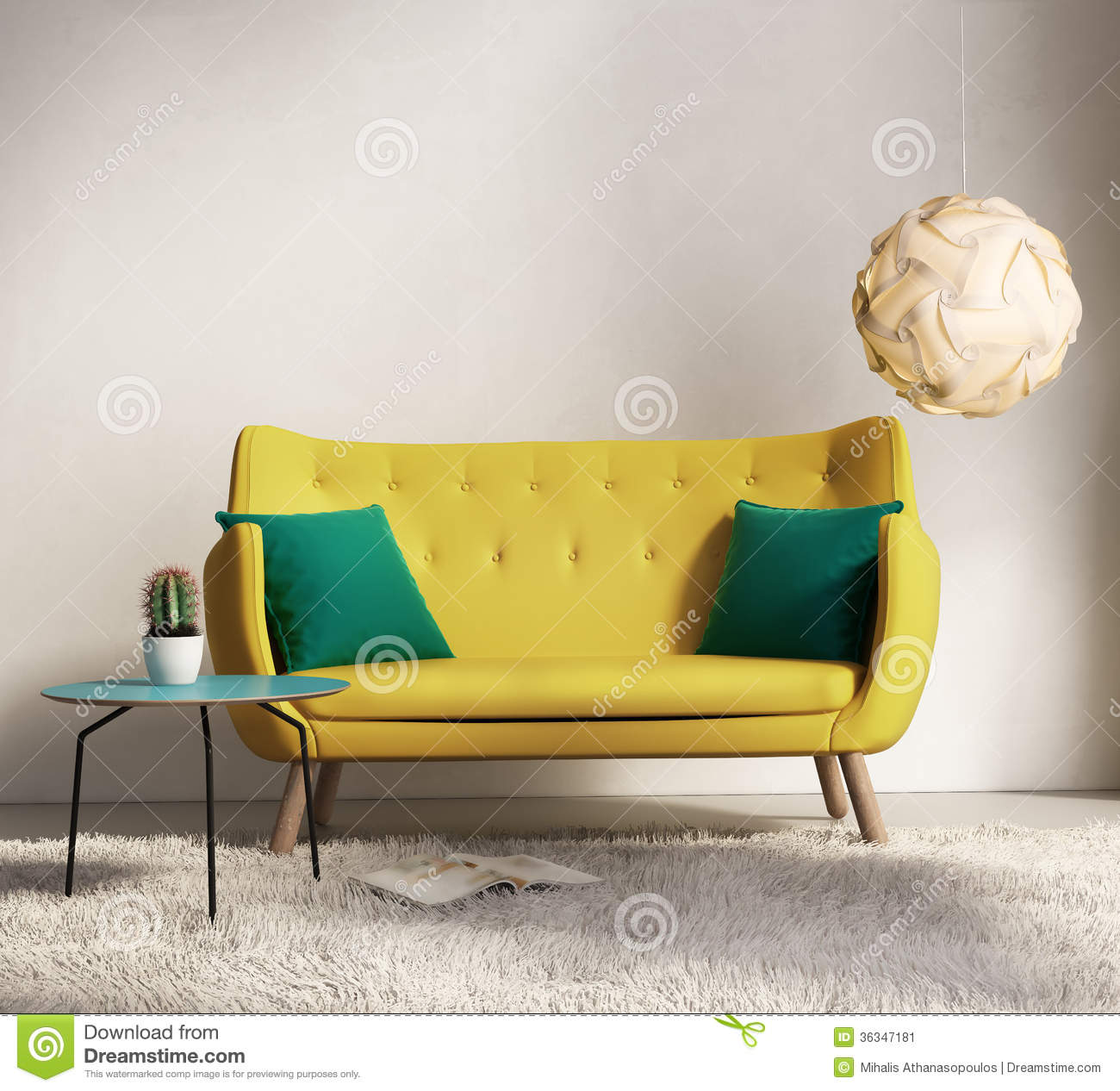 Yellow Sofa In Fresh Interior Living Room Stock Image