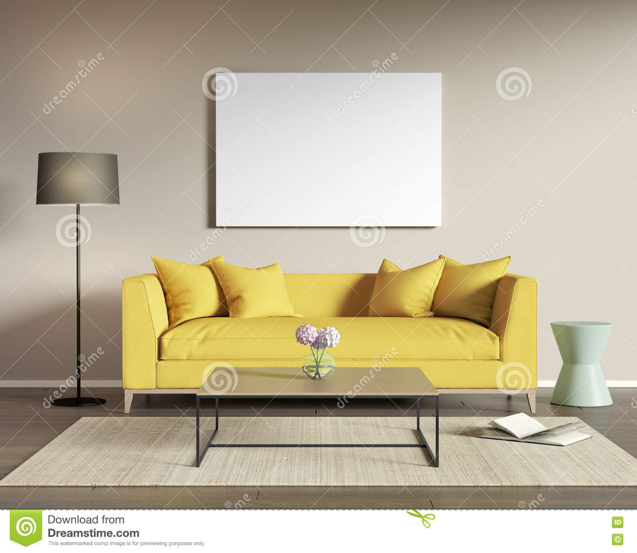Yellow Sofa In A Modern Living Room