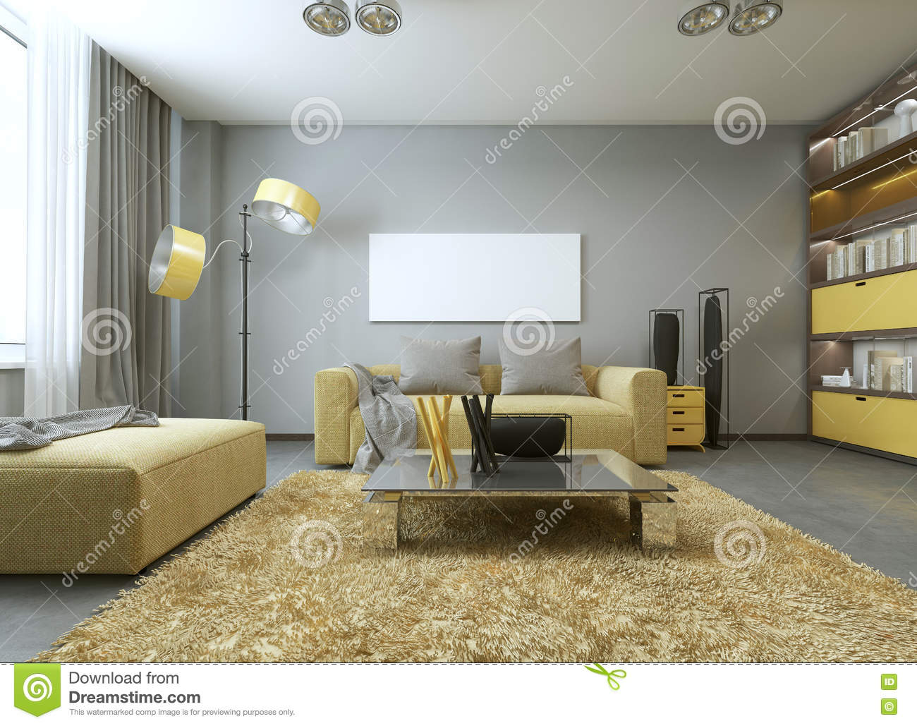 Yellow sofa in modern living room