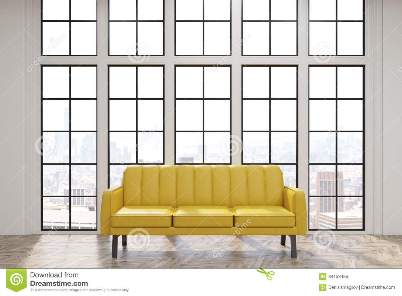 Yellow Sofa In Office Or At Home Stock Illustration - Illustration ...
