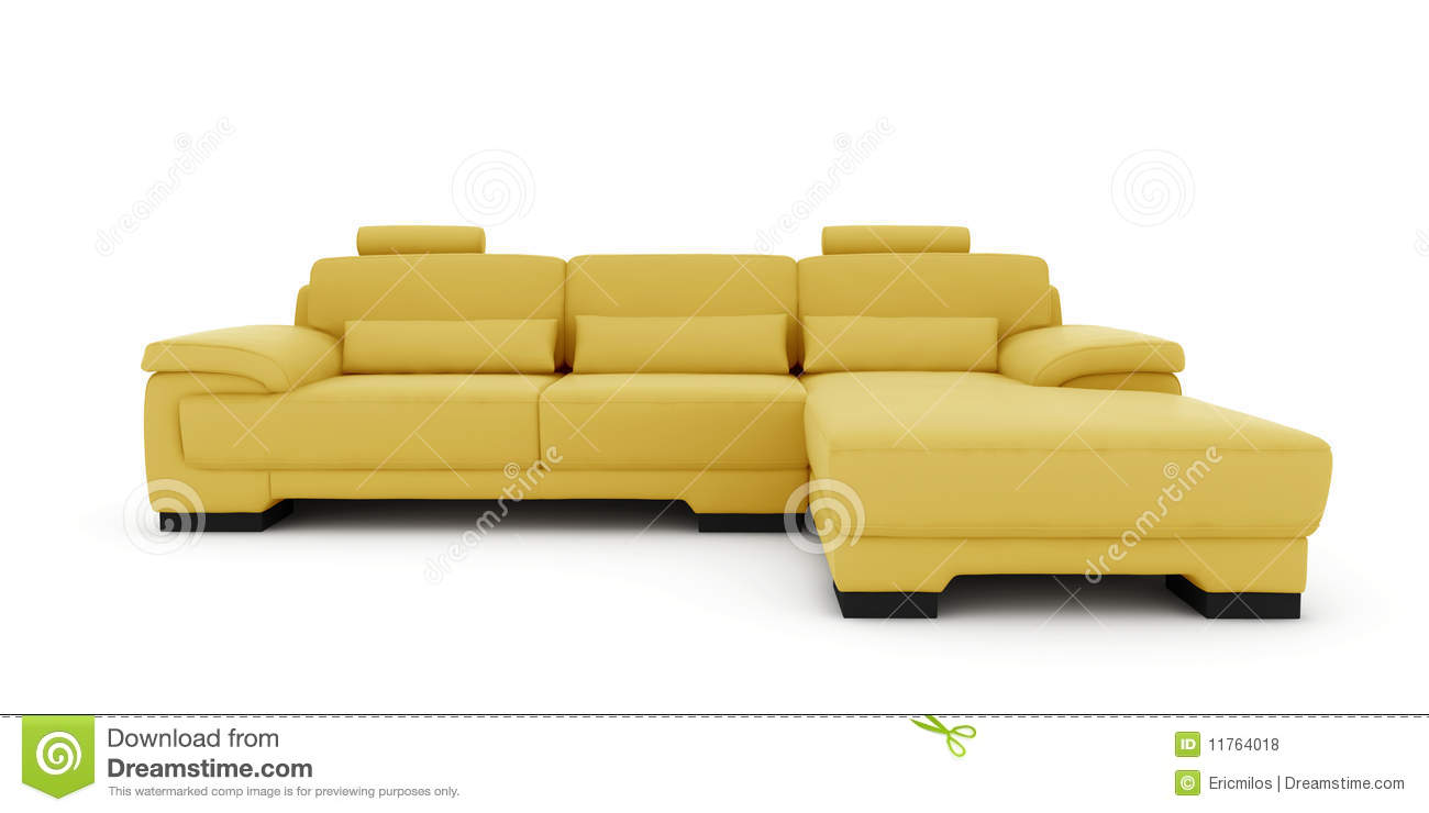 Yellow Sofa On White Background Royalty Free Stock Photos