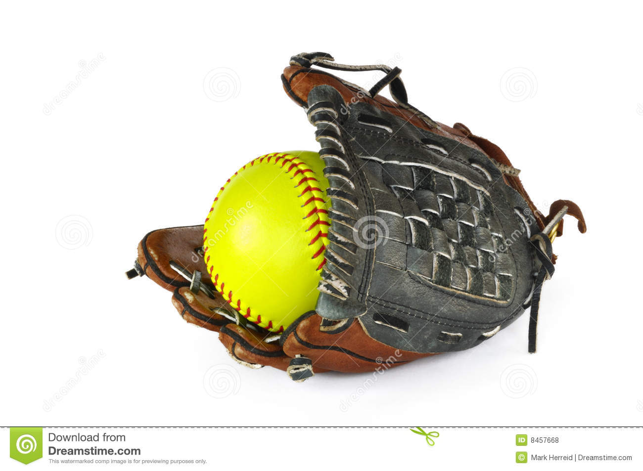 Yellow Softball And Glove Royalty Free Stock Photos - Image: 8457668
