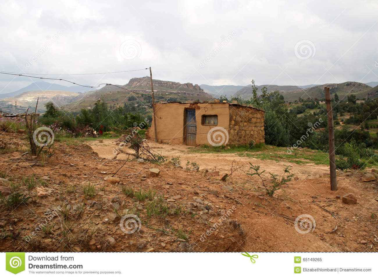 Yellow Soil And Stone House In Qwahqwah Stock Image