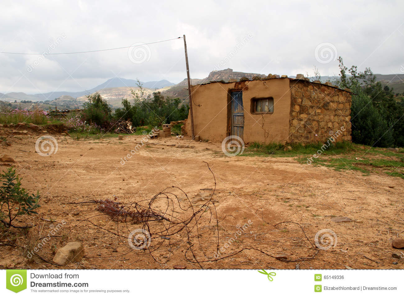 Yellow Soil And Stone House In Qwahqwah Stock Photo