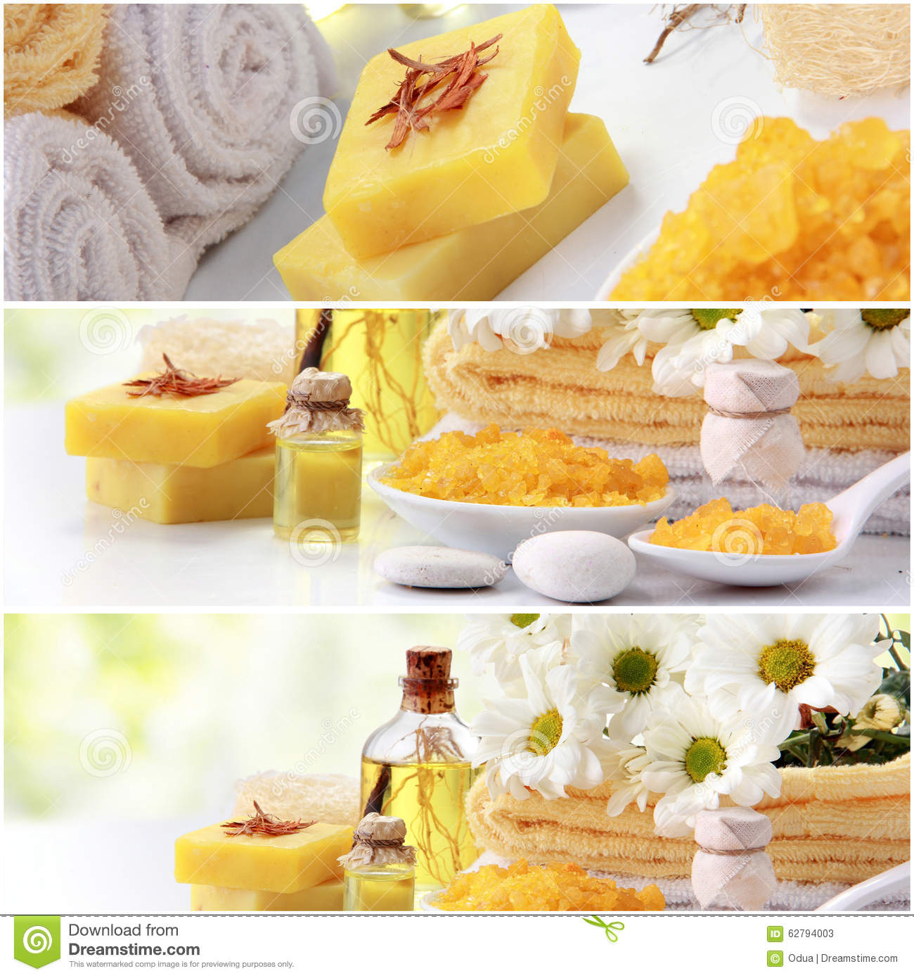 Yellow Spa Concept Collage Soap And Essensials Spa Objects Stock