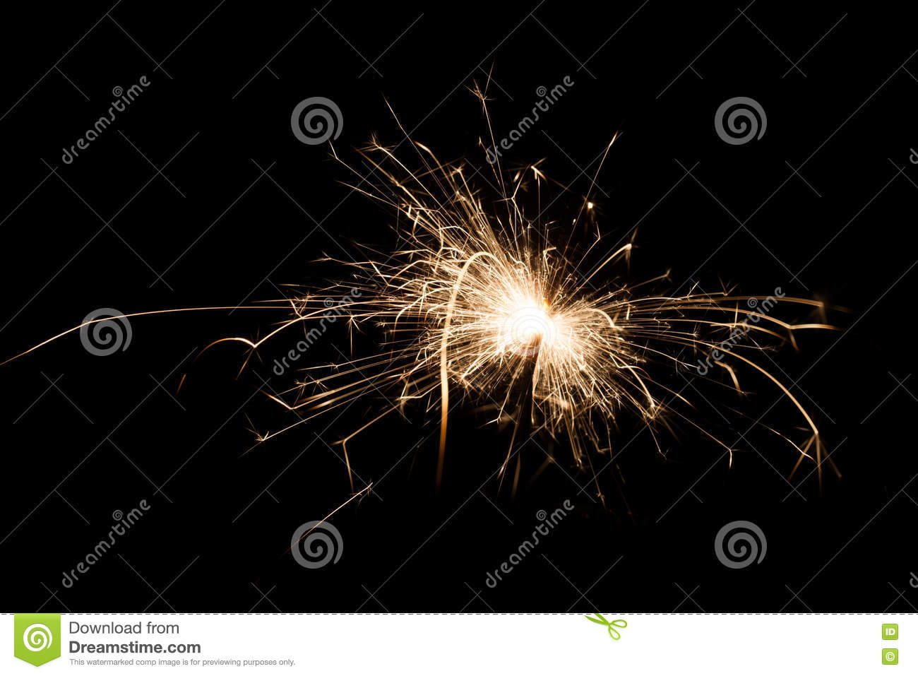 Yellow sparkler on isolated black color background.