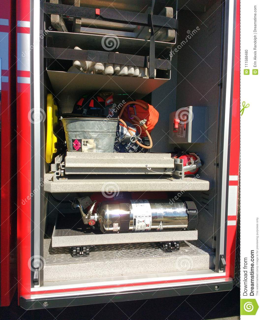Firefighting Equipment in a Fire Truck, Rutherford, NJ, USA