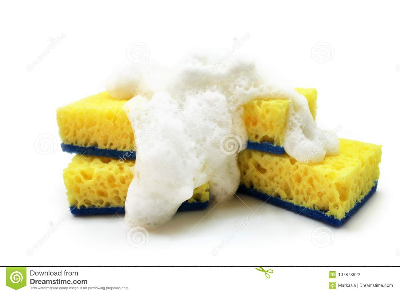 Yellow Sponge For Washing Dishes With White Foam Isolated On White ...