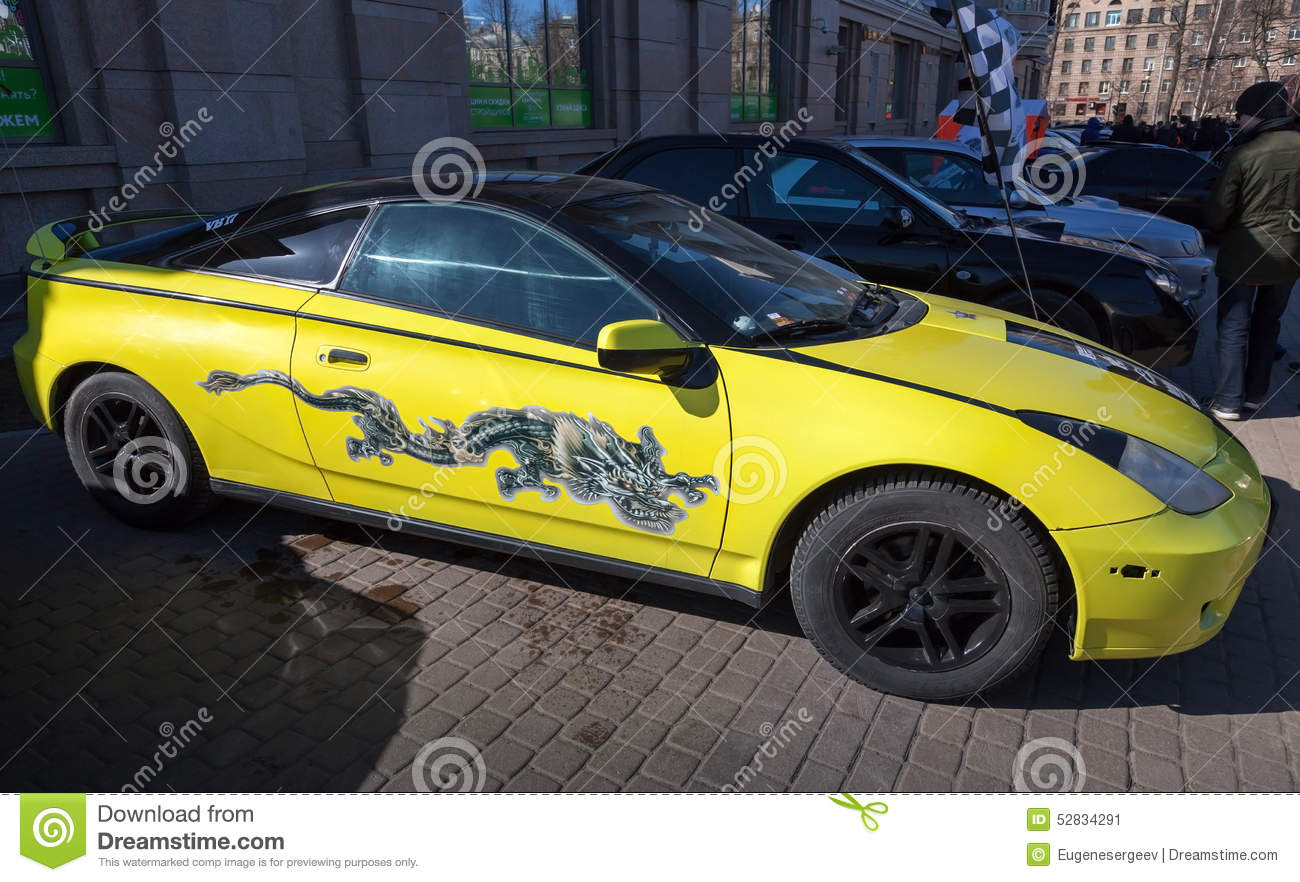 2015 Toyota Celica >> Yellow Sporty Styled Toyota Celica With Dragon Painting