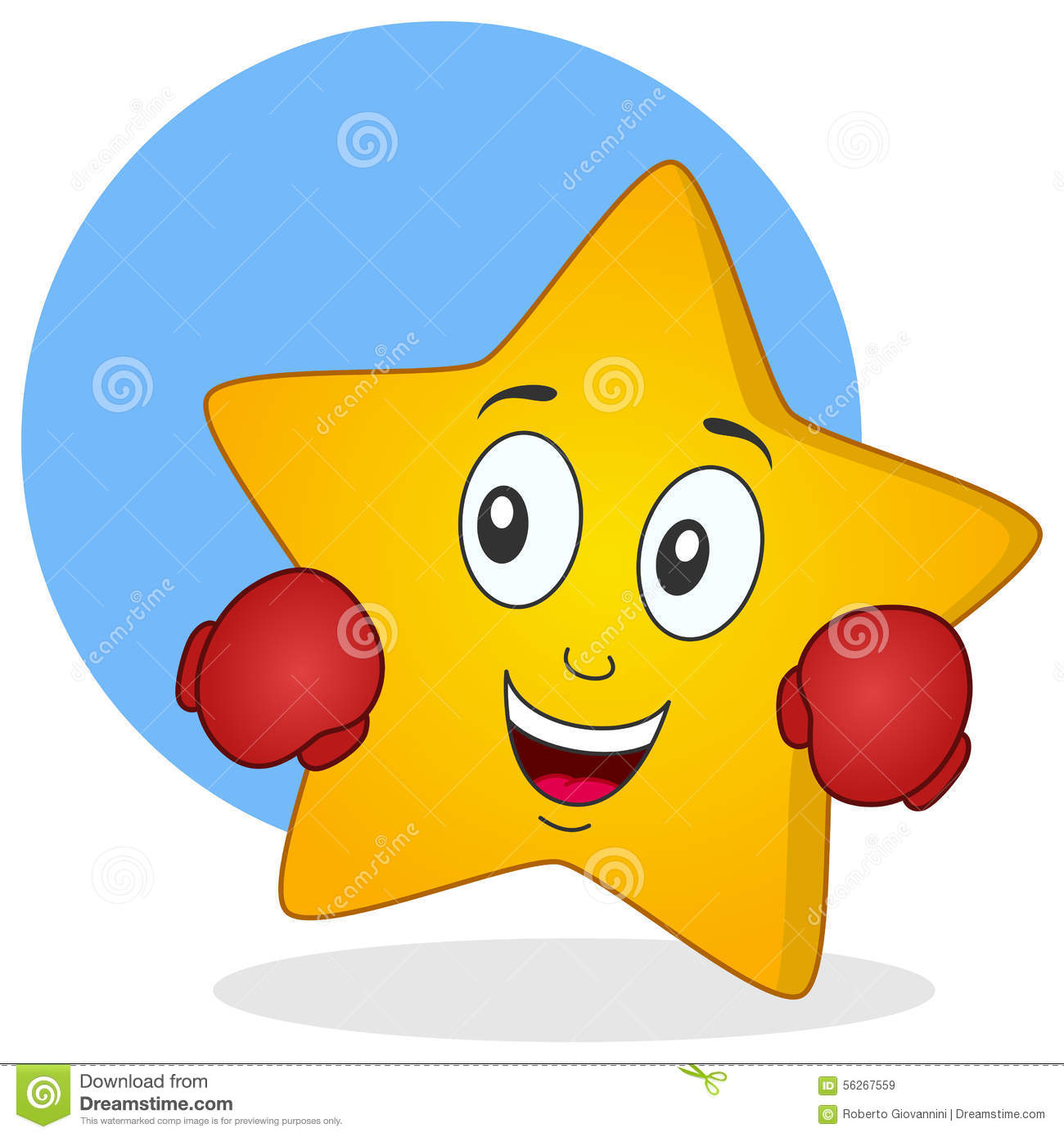 Yellow star character with boxing gloves stock vector image