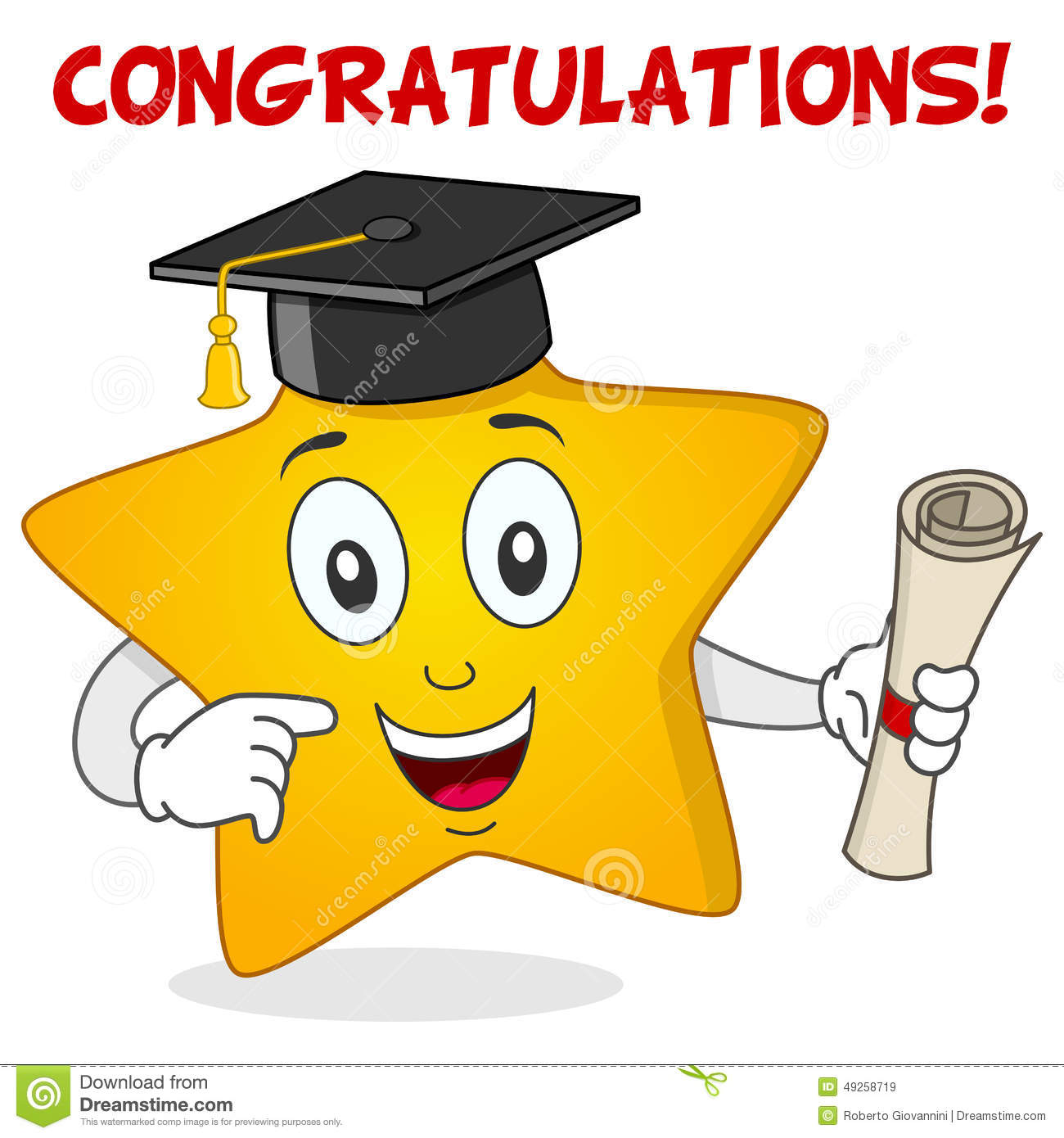 Yellow Star Character With Graduation Hat Stock Vector ...
