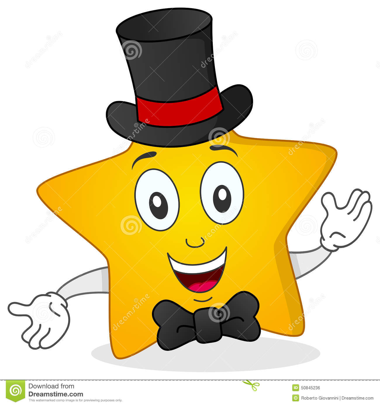 Yellow Star With Top Hat And Bow Tie Stock Vector - Image ...