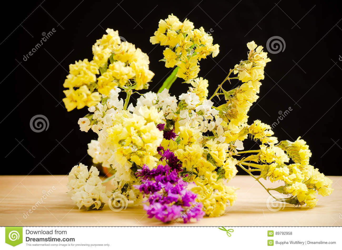 Yellow statice flowers stock photo image of decoration 89792958 download comp mightylinksfo