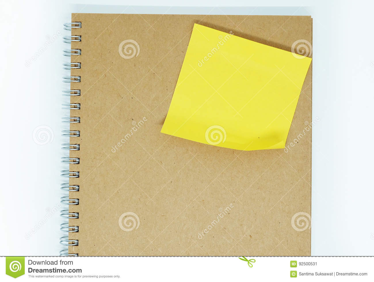 Yellow Sticky Note On Notebook Background Stock Image Image Of