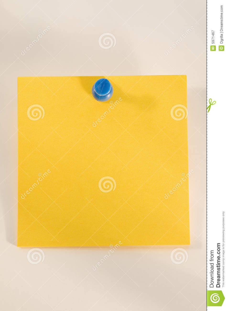 Yellow Sticky Note With Thumbtack Royalty Free Stock ...
