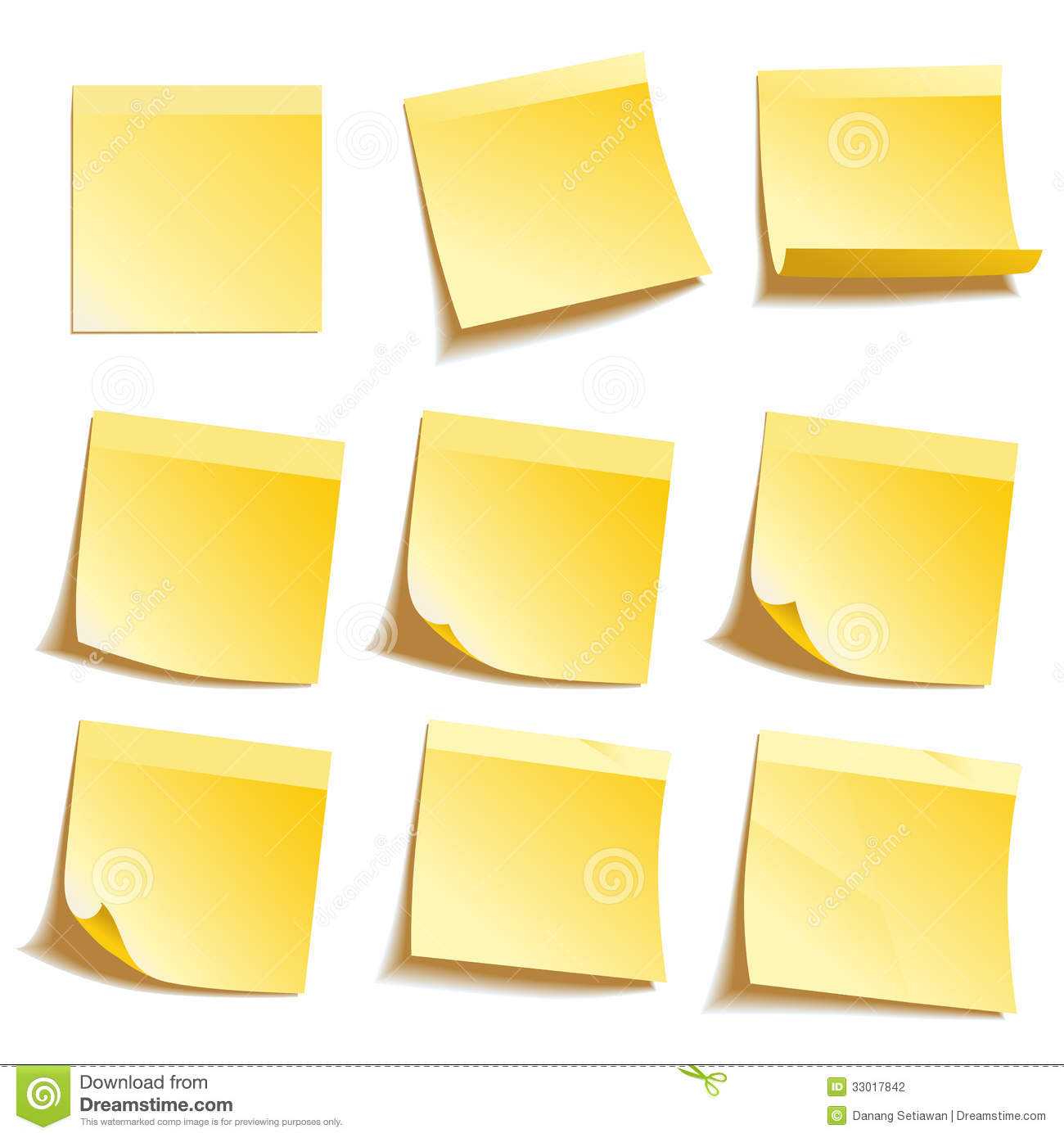 Yellow Sticky Notes Stock Photography - Image: 33017842