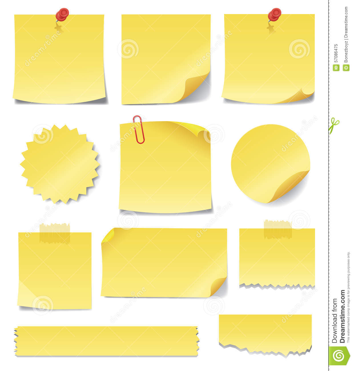 Yellow Sticky Notes Stock Vector Image 57086475