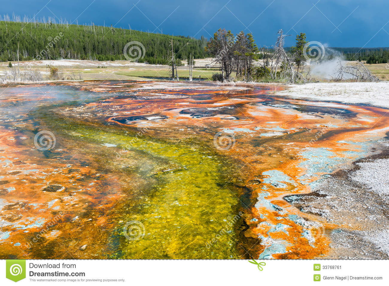 Colorful stream in the Biscuit Basin of Yellowstone National Park ...