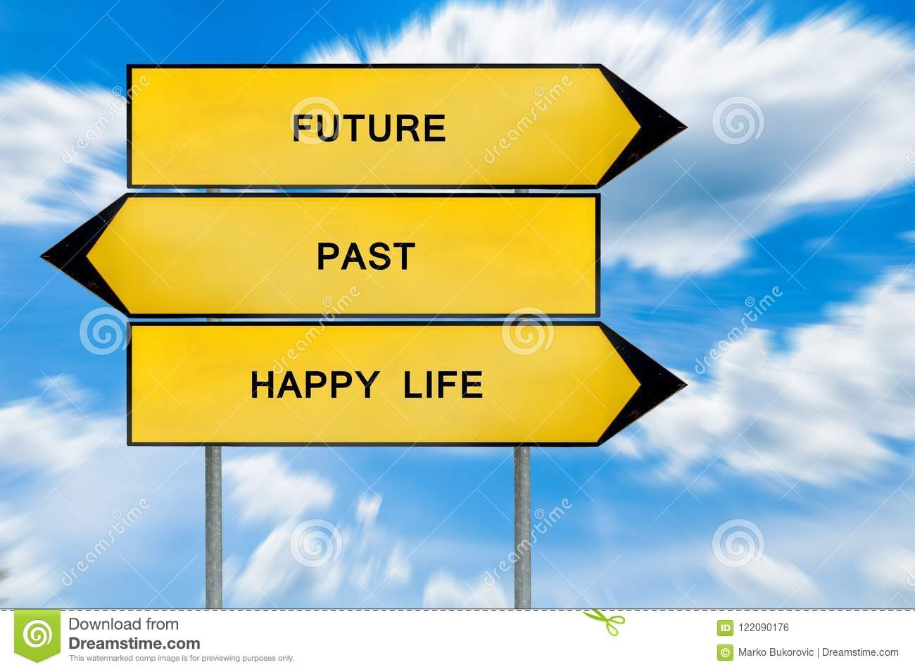 yellow street concept future past and happy life sign stock photo