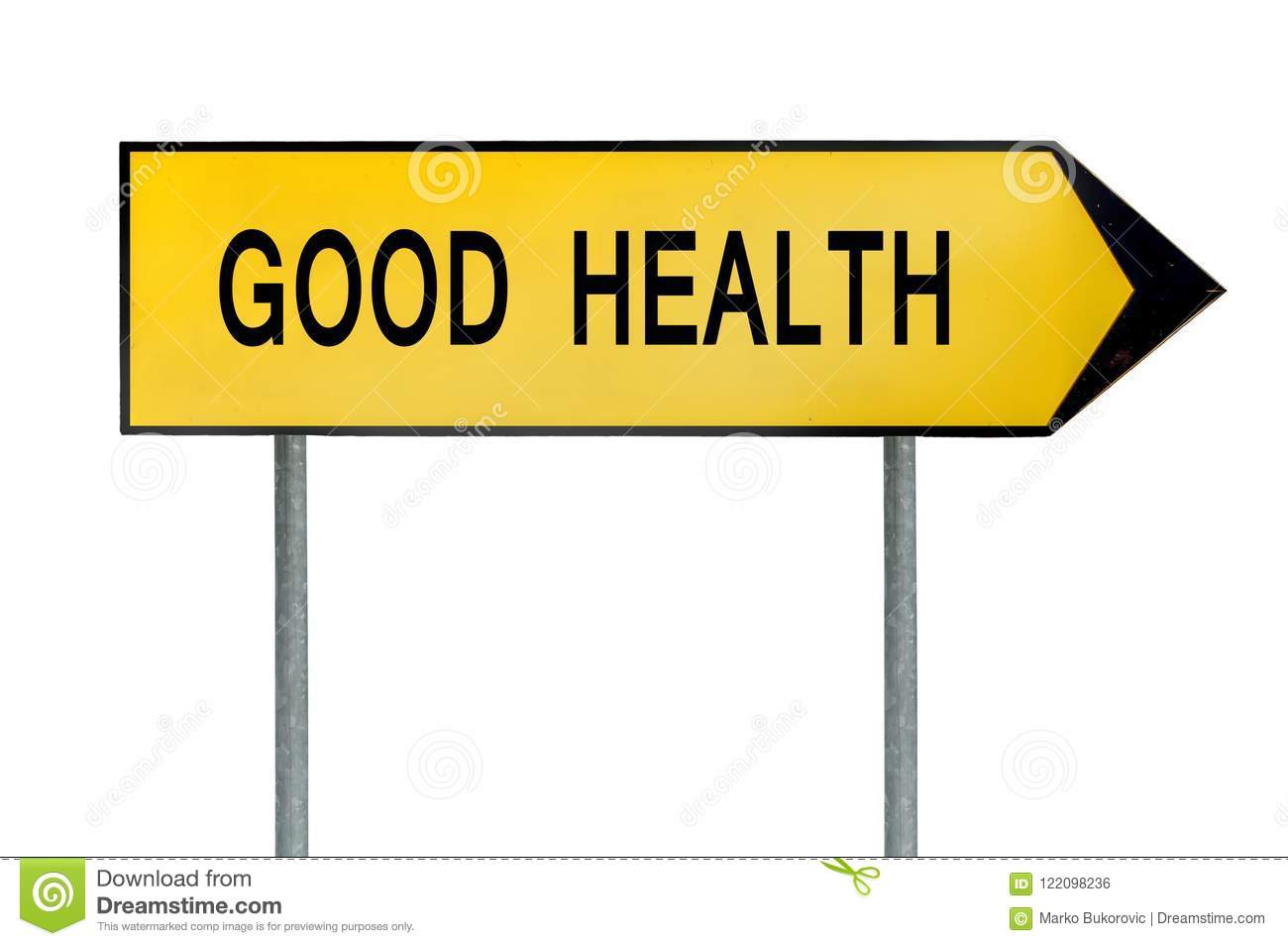 Yellow street concept good health lost sign