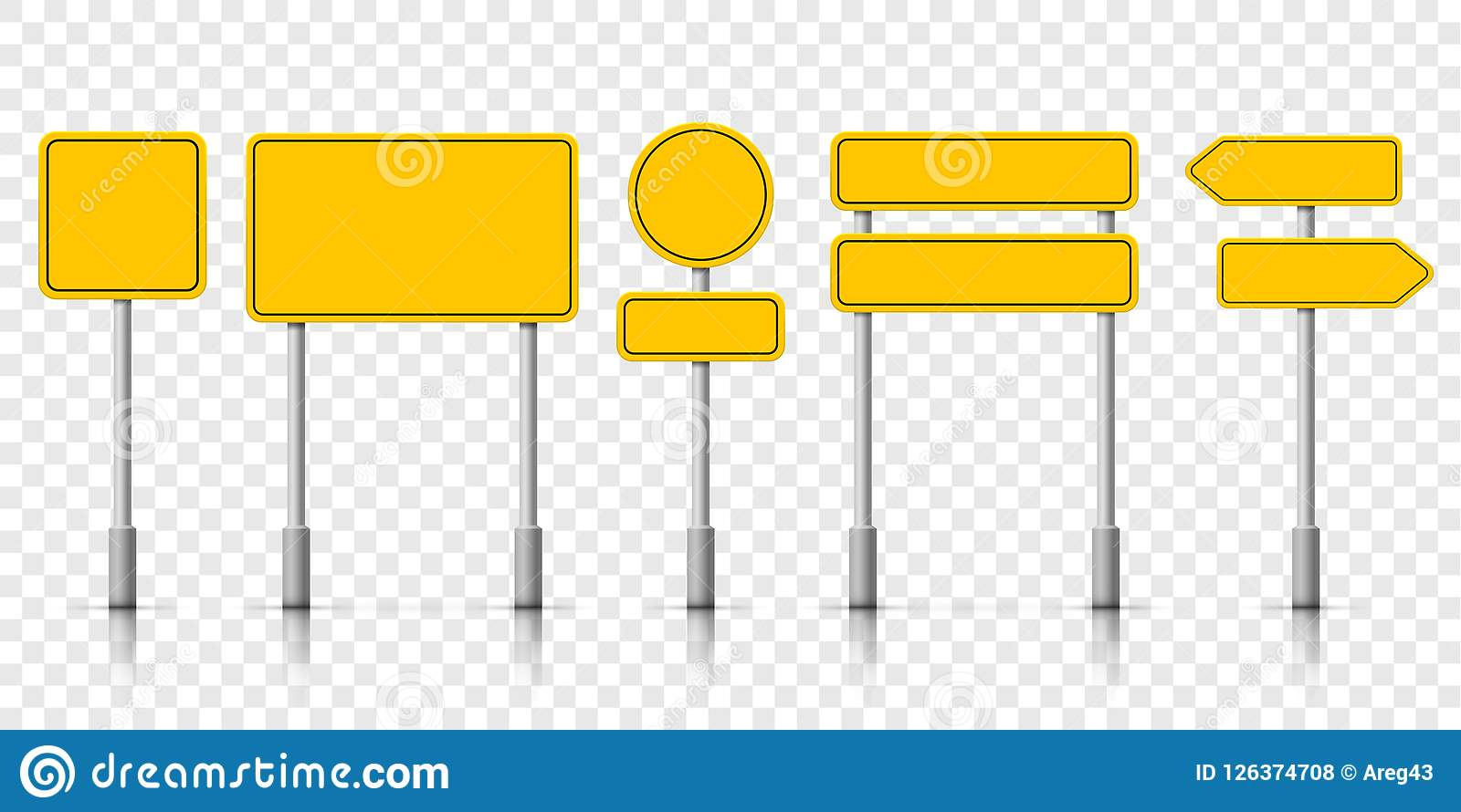 Yellow street road sign boards. Vector roadsign alert notice