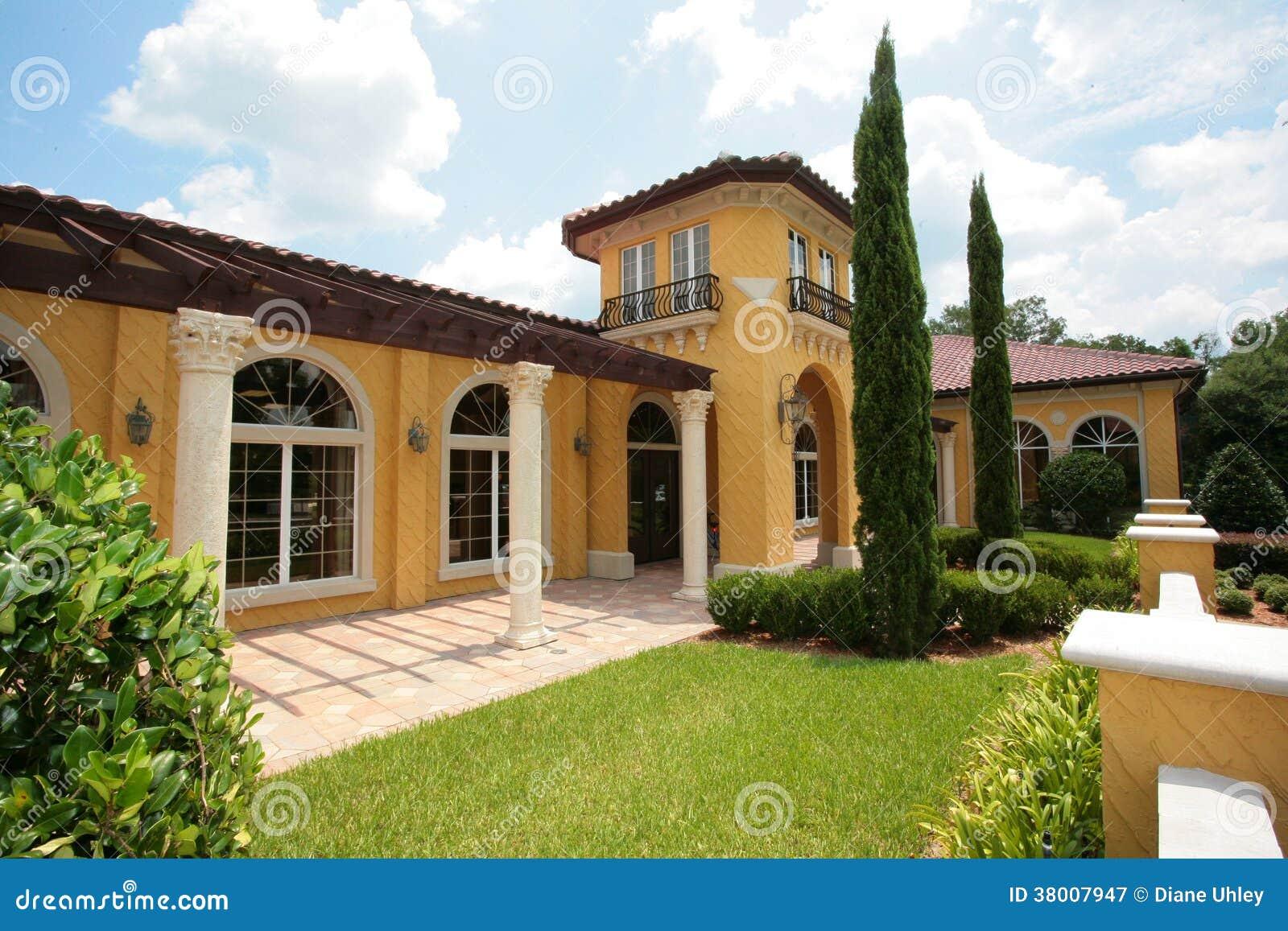 Yellow Stucco House Stock Image Image Of Little Glass