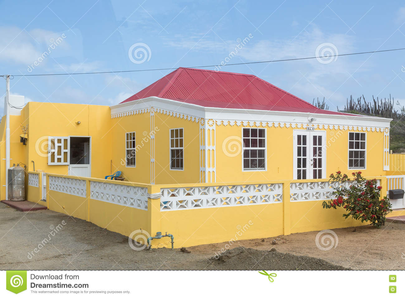Yellow Stucco House With Red Tile Roof Stock Photo Image