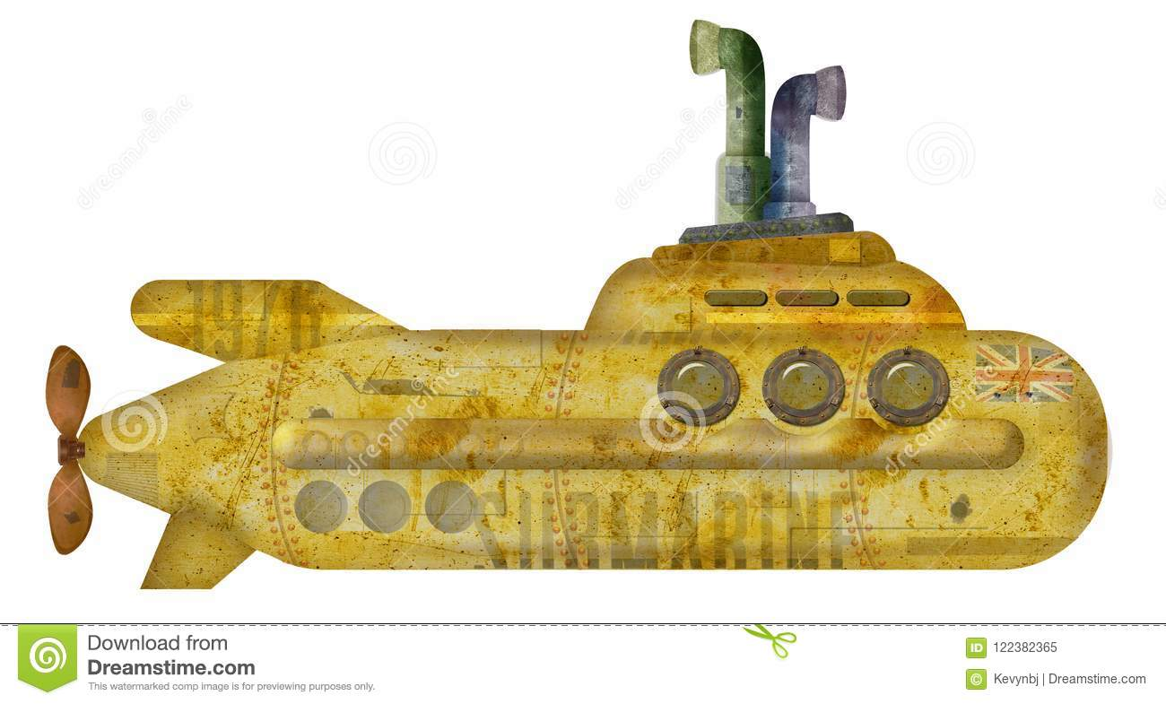 Yellow Submarine Grunge stock image. Image of sign, rivets - 122382365